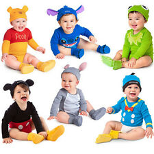 New Baby Boys Girls Animal Costume Bodysuit Outfit Romper Clothes Hat Set 0-18 M