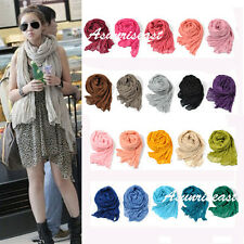 Women Man Long Crinkle Voile Soft Scarf Wrap Shawl Stole Pure Candy 15 Color