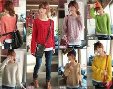 New Women Winter Warm Short Loose Round Neck Pullover Sweater 8 Colors