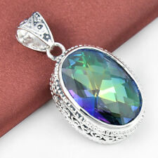 Vintage Silver Rainbow Mystic Colored Topaz Gems Pendant Necklace 1 1/2 Inch New