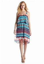 LUXOLOGY™ M, L Aqua & Coral Print Blouson High-Low Dress *NWT $88