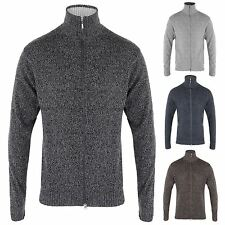 Mens Soft Woollen Knit Zip Up Funnel Neck Grandad Cardigan Jumper Sweater Top