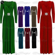 Womens Ladies Bridesmaid Cocktail Wrapover Full Sleeves Silver Buckle Maxi Dress
