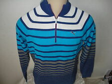 Puma Golf Funky a Strisce 1/4 Maglione Zip Blu Depths M / L / Xl / Xxl ONLY