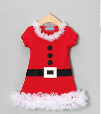 Baby girl clothes kids Children Christmas Red Belt dress Santa Xmas sets outfits