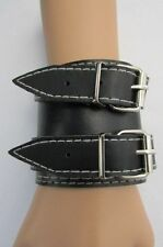 "New Men Black Faux Leather 3"" Wide Biker Fashion Bracelet Silver Buckles Rocker"