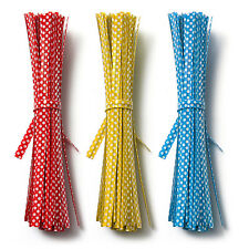 100pcs COLOURED POLKA DOT TWIST TIES for Cookie Cone cello gusset bags 10cm New