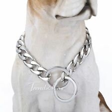 13MM CUSTOMIZE SZ Silver Tone Curb 316L Stainless Steel Dog Chain Collar
