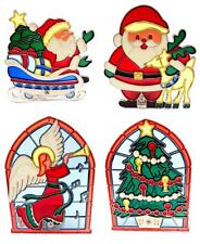 Stained Glass Tealight Candle Holders Santa Angel Christmas Tree Decoration 5846