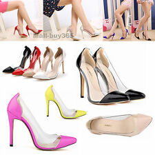 HIGH HEELS STILLETOS PU PATENT LEATHER TRANSPARENT SHOES IN WOMEN AU 3.5-8.5