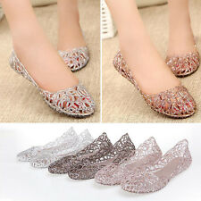 Lady Flat Shoes Galoshes Hollow Out Bird's Nest Sandal Pink Silver Pink Silver