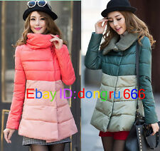 2015 New women winter coat Spell color long down cotton stitching jacket