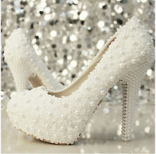 Ms. Slipper white pearl lace wedding bridal shoes high-heeled shoes