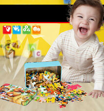 Hot Baby Child Kids Wooden Puzzle Cartoon Educational Animal DIY Jigsaw Toys Box