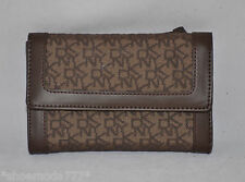 DKNY Town & Country Classic Trifold Wallet Organizer Bag Purse Brown New