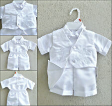 Newborn infant toddler white boy baptism christening suit vest set with hat