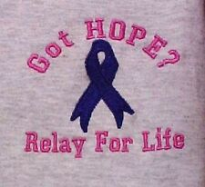 Relay for Life Sweatshirt Crew Neck Awareness Embroidered 3 Colors Got Hope New