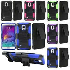 For Samsung Galaxy Note 4 Cell Phone Case Hybrid Hard Cover + Belt Clip Holster