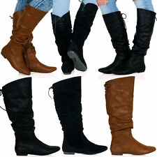WOMENS LADIES CALF  SLOUCH RUCHED ZIP ROUND TOE BUCKLE RIDING BOOTS SIZE 3-8