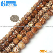 "Natural Gemstone Wood Texture Agate Round Beads Free Shipping 15"" 8mm 10mm 12mm"