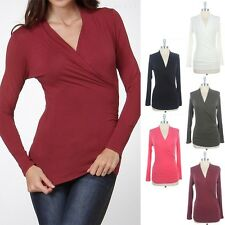 Solid Front Wrap Side Shirred V-Neck Soft Top Rayon Long Sleeve Plain Cute S M L