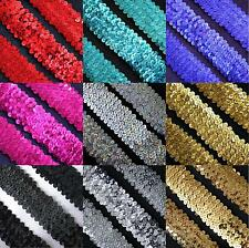 1 YARD SEQUINS STRETCH ELASTIC SEWING CRAFT 54MM TRIMMING DANCE COSTUME DRESS