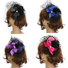Lady Mini Feather Bowknot Hat Lace Fascinator Pillbox Party Hair Clip Daily Wear
