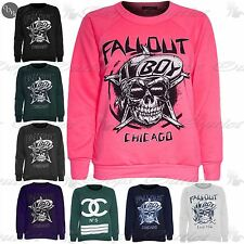 New Womens Ladies Fallout Boy Chicago Fleece Knit Sweater Jumper Sweatshirt Top