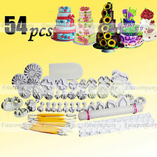 54pcs Sugarcraft Fondant Cake Icing Topper Plunger Cutters Embosser Modeling New