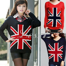 Women Loose Union Jack Uk Flag Sweater Cardigan Knit Jumper Pullover Tops 1pc