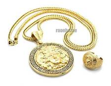 "ICED OUT GREEK MEDUSA PENDANT 4mm 36"" FRANCO CHAIN NECKLACE & RING SET JP242R"