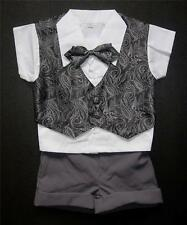 Shiny Black & Dark Grey Paisley BABY BOY OUTFIT, Special Occasion Suit, Age 0-3