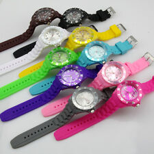 Unisex Womens Girl Boy Casual Sport Wristwatch Silicone Strap Analog Round Color