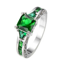 Jewelry  sz6/7/8/9/10  Brand Green Emerald lady's 10KT white Gold Filled Ring