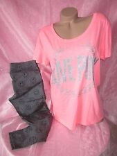 Nwt Victoria Secret CUTE Smiley Face Leggings T Shirt Top Glitter Pajamas PiNK L