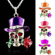 Chic Silver Jewelry Necklace Pendant Skull Flower Crystal Sweater Chain Fashion