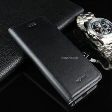For iPhone 5S 5 GGMM Luxury Genuine Real Leather Flip Slim Case Cover + Screen