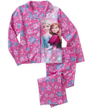 Disney Frozen ELSA & ANNA Flannel Coat PINK Pajama PJ's Sleepwear 2pc Girls-NEW