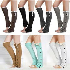 Lady Knee High Knit Flat Lace Trim Button Down Crochet Leg Warmers Boot Socks
