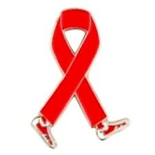 Red Ribbon Walking Legs Awareness Pin Cancer Cause Support Collar Tac Walk Event