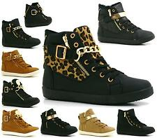 WOMENS LADIES ANKLE LACE UP GOLD FLAT HI-TOP SNEAKERS SHOES BOOTS TRAINERS SIZE