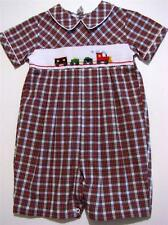 CARRIAGE BOUTIQUE 3M BOYS PLAID SHORTALL W/EMBROIDERED TRAIN~NWT'S