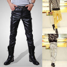 FASHION New Mens Casual Slim Skinny PU Faux Leather Jeans Trousers Tight Pants