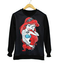 FASHION Women Hoody Harajuku Pullovers Mermaid Fish Print Sweatshirt Black AU WB
