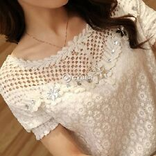 Hot! Sexy Women Sheer Short Sleeve Lace Crochet Top Blouse Floral T-Shirt M-XXL