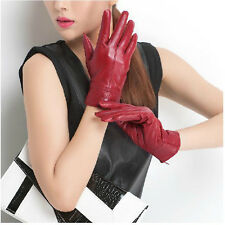 Women's Genuine Leather Sheepskin Winter Warm Gloves Soft Elegant Stylish Lined