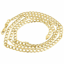 Mens Hollow 10K Yellow Gold 5 MM Cuban Curb Link Chain Necklace 16 - 30 Inches