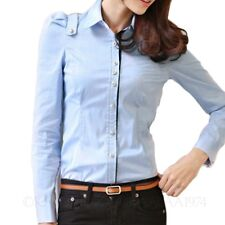 Winter Ladies Long Sleeve Shirts Work Blouse Smart Top Womens Fitted Shirt Size