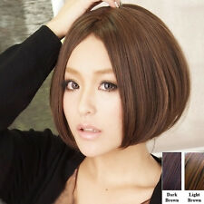 New Fashion Womens Lady Short Straight Hair Full Wigs No Bangs Cosplay Brown