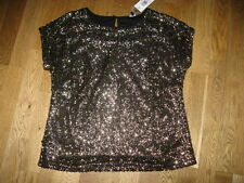 Ladies fab black gold sequin party top BNWT papaya size 12  14